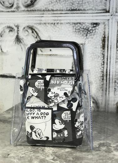 Coral Demir Kulplu Desenli Çanta Siyah-Beyaz Siyah